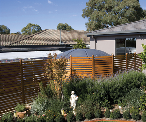 A dense and ornate garden is shown with lavender and standardised shrubs. Behind the garden is a tall wooden fence that obscures a very large rainwater tank, adjacent to a house, from view.